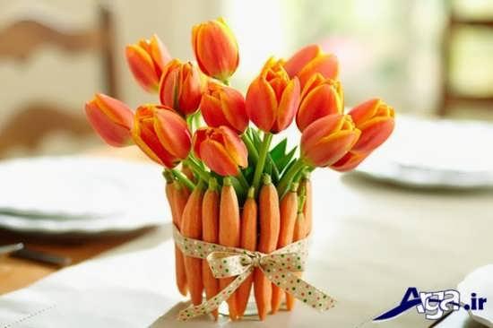 تزیین هویج به شکل گل و گلدان