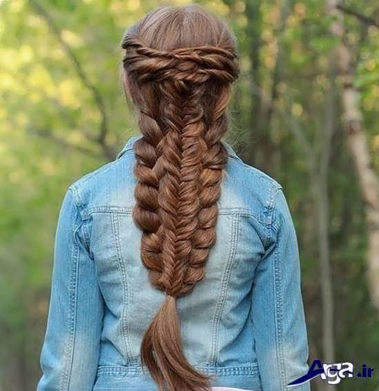شینیون دخترانه به همراه بافت های تزیینی مو