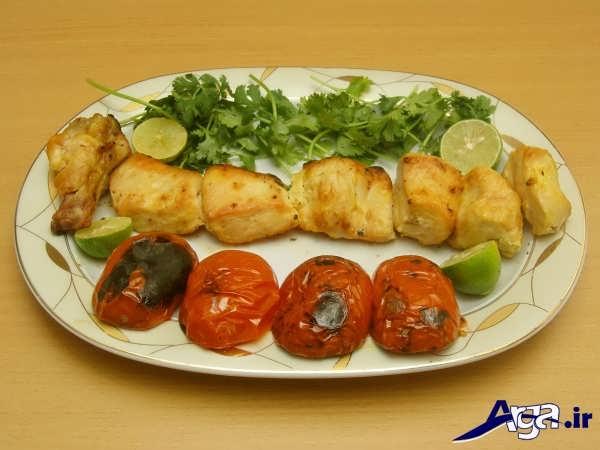 تزیین های جوجه کباب با انواع سبزیجات