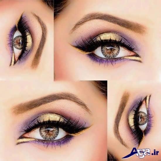 مدل آرایش چشم با سایه بنفش و طلایی