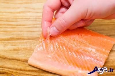 روش تمیز کردن ماهی سالمون به صورت تصویری