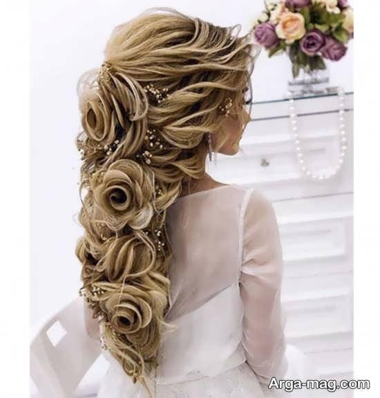آرایش مو نیمه باز به شکل گل