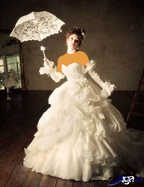 مدل لباس عروس آستین دار اسکالرت