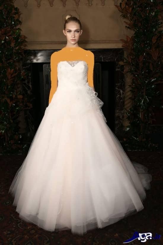 لباس عروس پفی همراه با تور