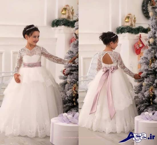 مدل لباس عروس دخترانه آستین دار