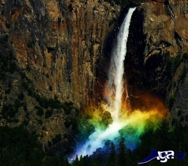 عکس آبشار و رنگین کمان