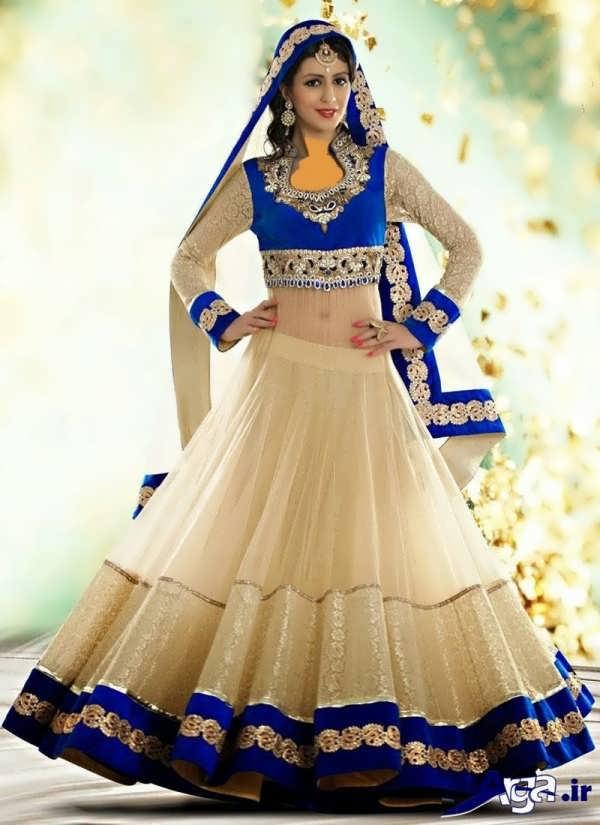 لباس عروس هندی آبی سفید