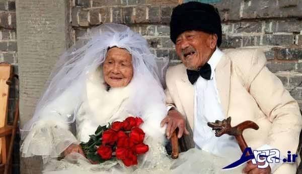 عکس جالب خنده دار از عروس و داماد پیر