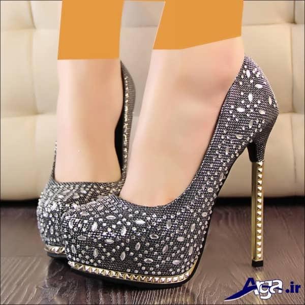 کفش پاشنه بلند زنانه طوسی