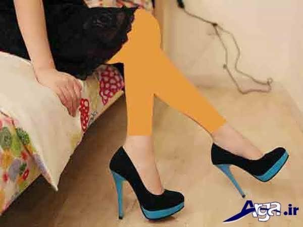 کفش پاشنه بلند زنانه آبی مشکی