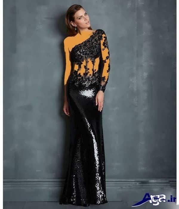 مدل لباس شب بلند با طرح گیپور