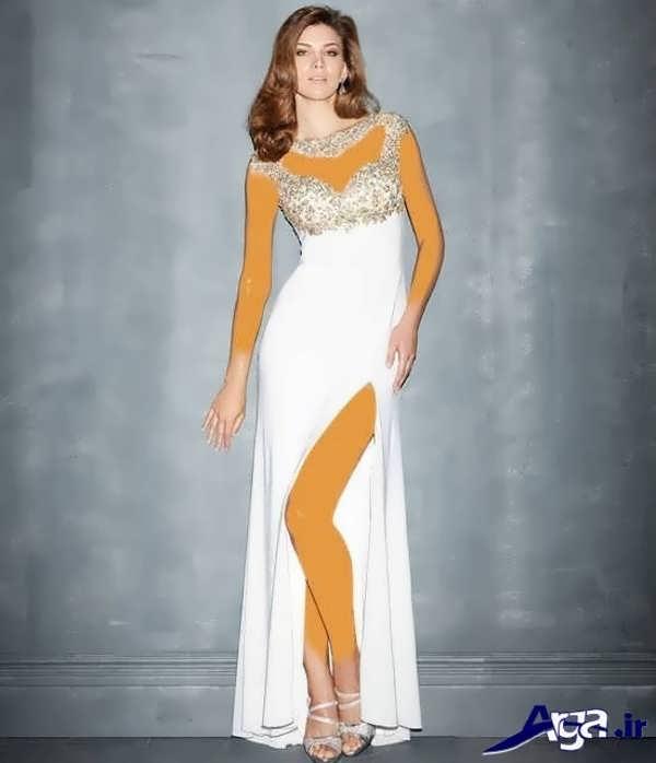 مدل لباس شب بلند سفید جذاب