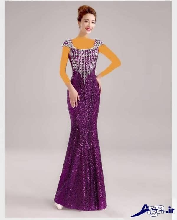 مدل لباس شب بلند بنفش