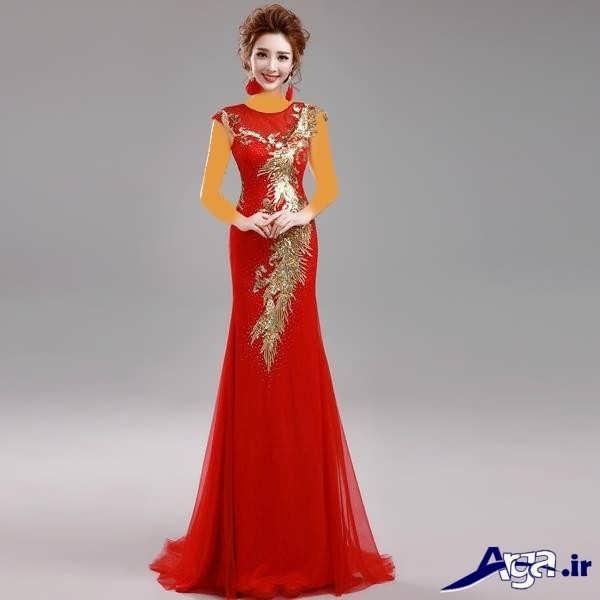 مدل لباس شب بلند قرمز
