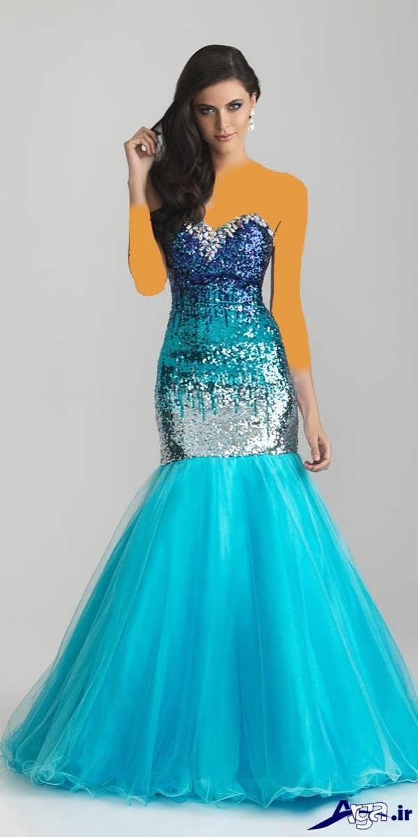 مدل لباس شب بلند آبی آسمانی