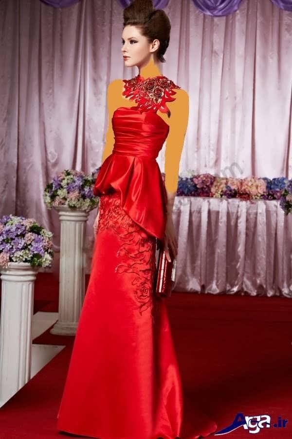 مدل لباس شب بلند ساتن قرمز