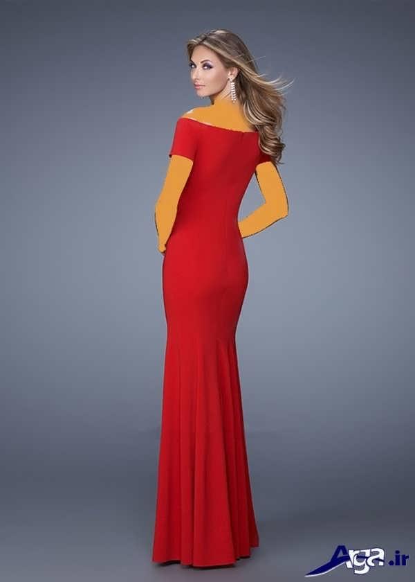 مدل لباس شب بلند زیبا قرمز