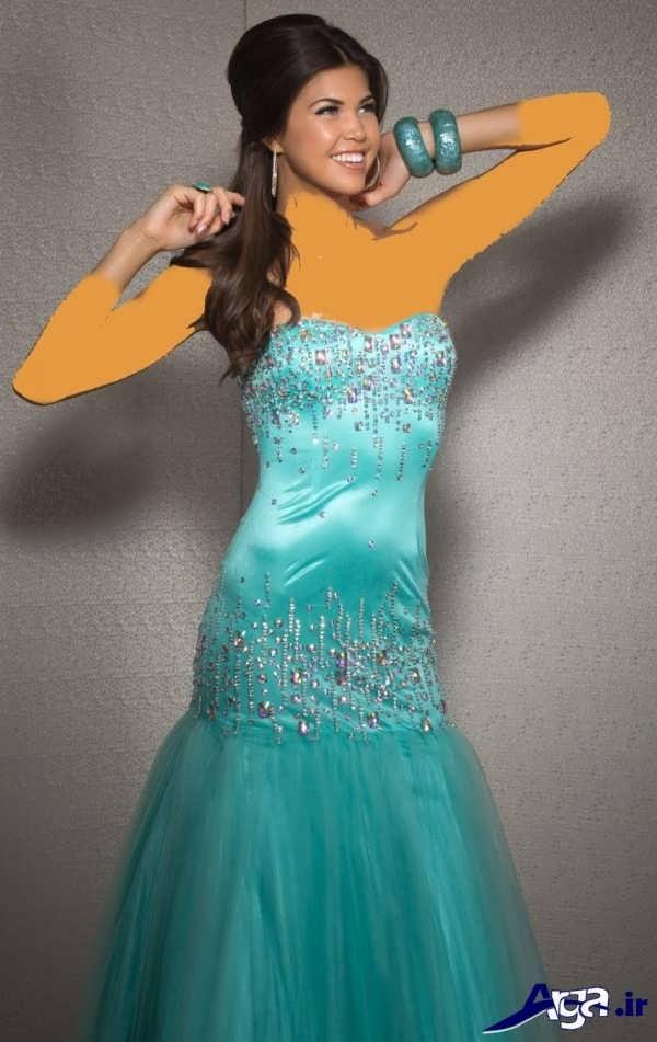 مدل لباس شب بلند آبی