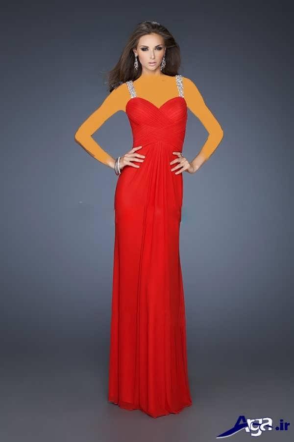 مدل لباس شب بلند قرمز ساده