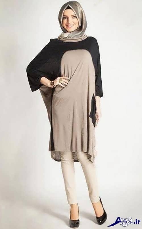 مدل مانتو دو رنگ مخصوص خانم های باردار