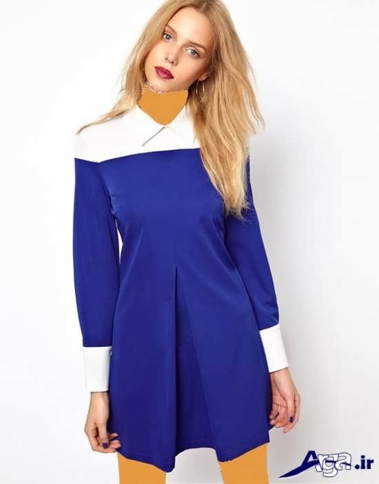 مدل مانتو جلو بسته آبی دخترانه
