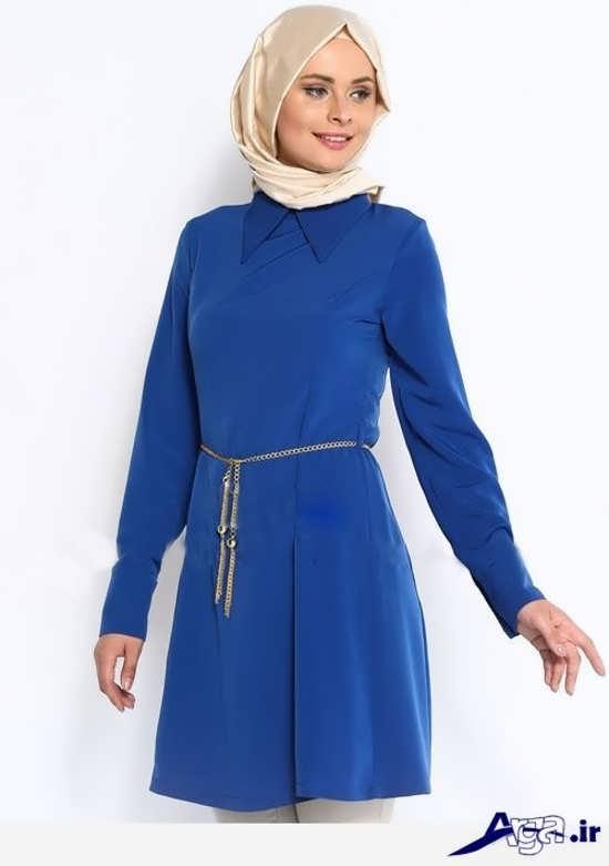 مدل مانتو جلو بسته آبی زیبا