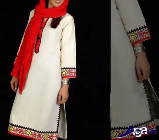 مدل مانتو جلو بسته سنتی سفید