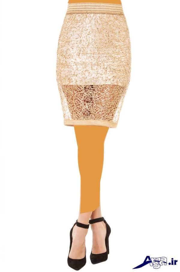 مدل دامن مجلسی گیپور سفید