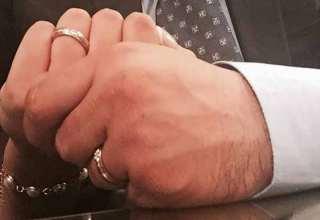 محسن تنانده و همسرش در لحظه عقد