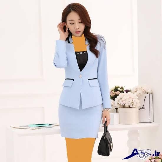 کت و دامن با رنگ آبی روشن