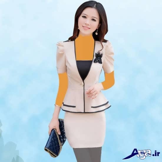 کت و دامن رنگ روشن با طراحی مدرن