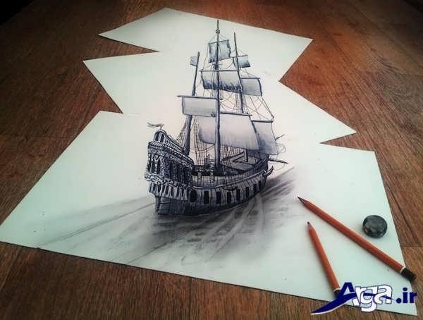 نقاشی سه بعدی کشتی
