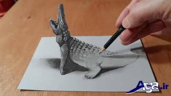 نقاشی های سه بعدی تمساح