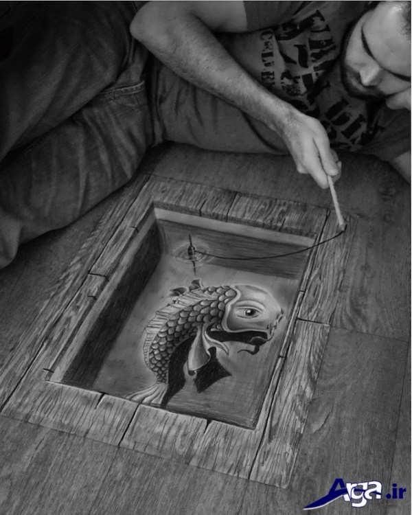 نقاشی های سه بعدی ماهی