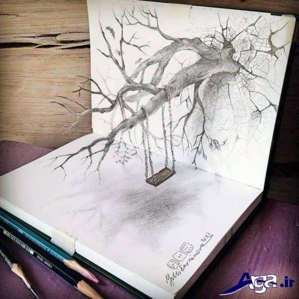 نقاشی سه بعدی درخت