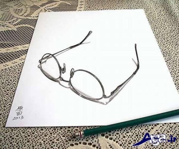 نقاشی سه بعدی عینک