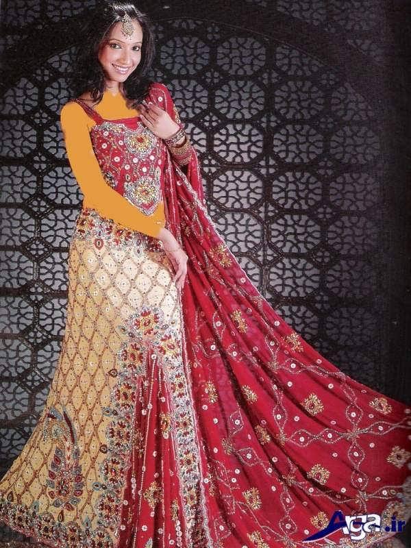 لباس عروس هندی قرمز سفید