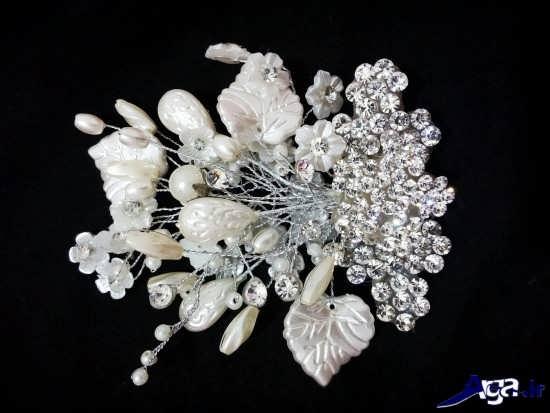 مدل تاج عروس با گل کریستالی
