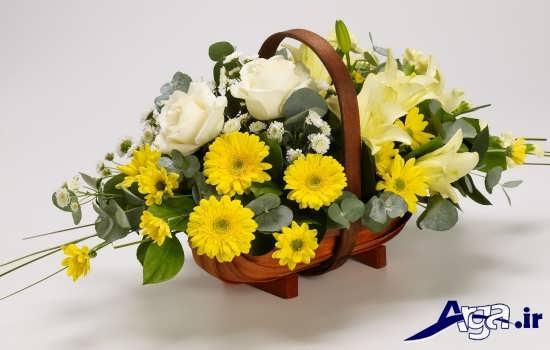 عکس سبد گل های زرد