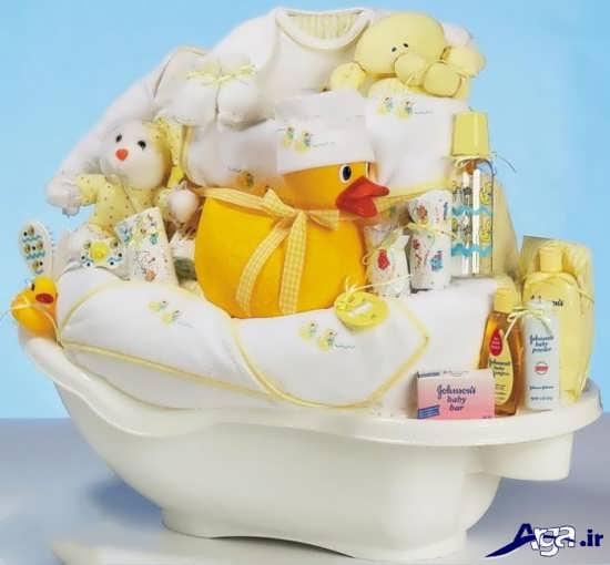 تزیین وسایل حمام نوزاد برای سیسمونی