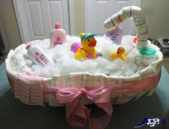 تزیین وسایل حمام نوزاد در سیسمونی