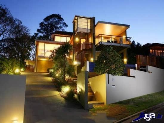 نورپردازی بیرونی ساختمان های ویلایی
