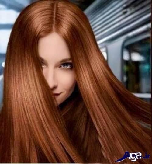 ترکیب رنگ موی مسی شکلاتی با مش فندقی کاراملی