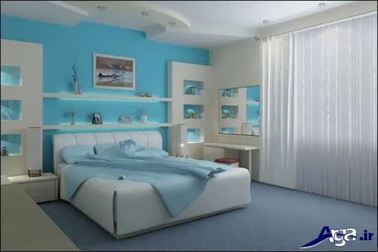 اتاق خواب آبی زیبا
