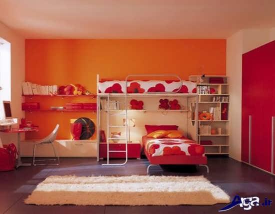 اتاق خواب با رنگ قرمز و نارنجی