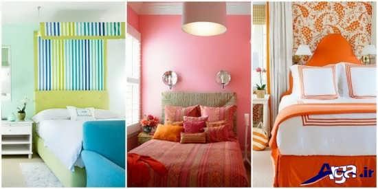 اتاق خواب با ترکیب چند رنگ