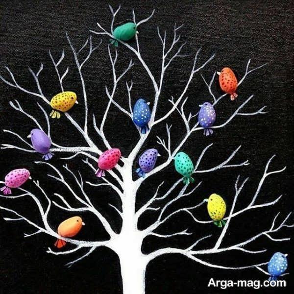 ساخت درخت رنگی با پوست پسته