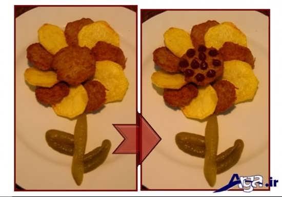 تزیین کتلت گوشت و سیب زمینی به شکل گل