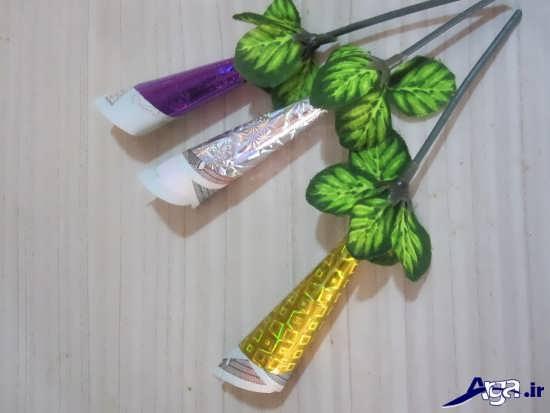 تزیین اسکناس به شکل شاخه گل