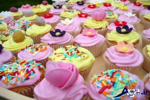 تزیین کاپ کیک با طرح گل